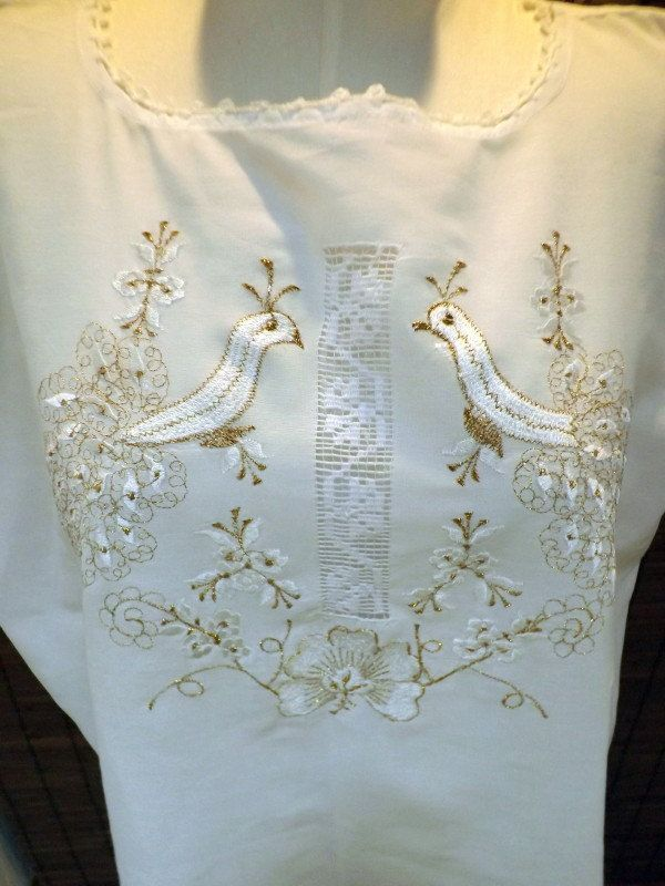 Vintage White Cotton Peacock Gold Embroidered Crochet Inset Peasant Blouse M-XL. $22.00, via Etsy.