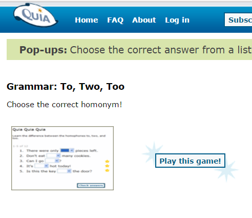 This is an image from this resource on the internet4classrooms from this resource on the sixth grade language skill builders usage errors resource page totwotoo choose the correct homonym in this quia quiz ibookread PDF