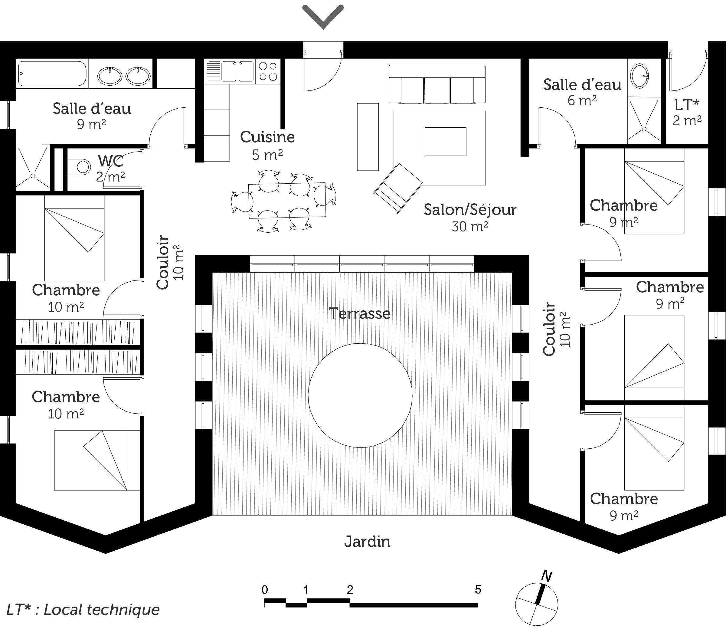 R sultat de recherche d 39 images pour plan maison plain for Plan maison moderne 110m2