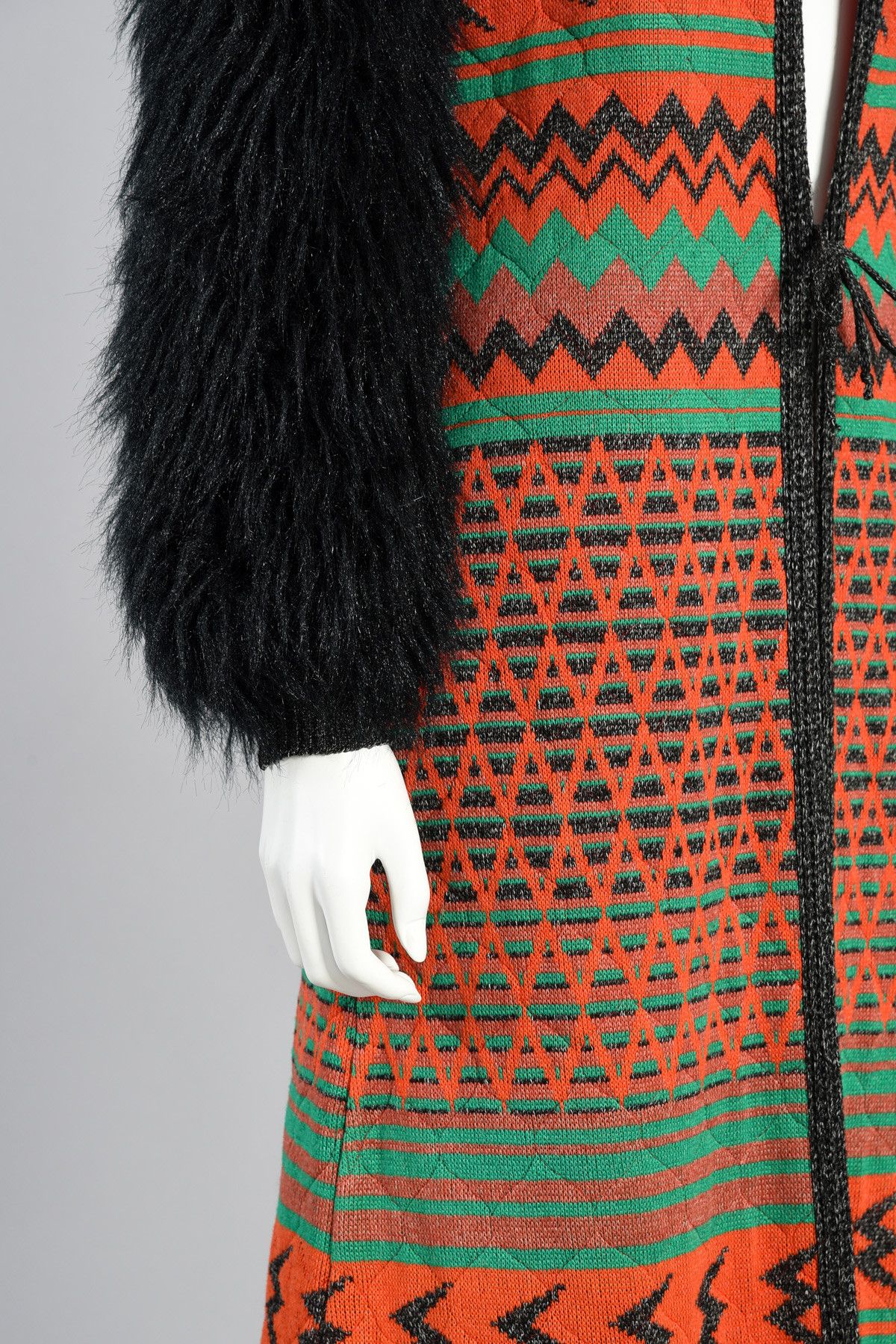70s Giorgio Sant'Angelo Knit Maxi Jacket w/Faux Fur Sleeves | BUSTOWN MODERN