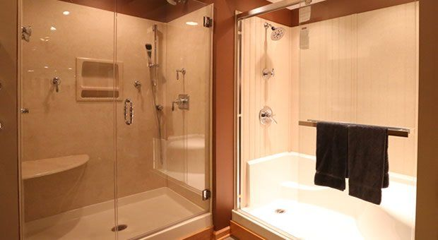 Corner Shower Units Fiberglass Frameless Frosted Glass