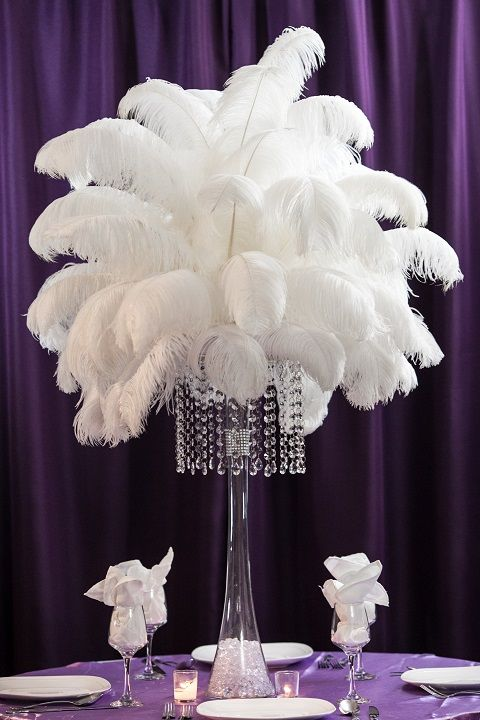 Ostrich feathers centerpiece amore decor rentals