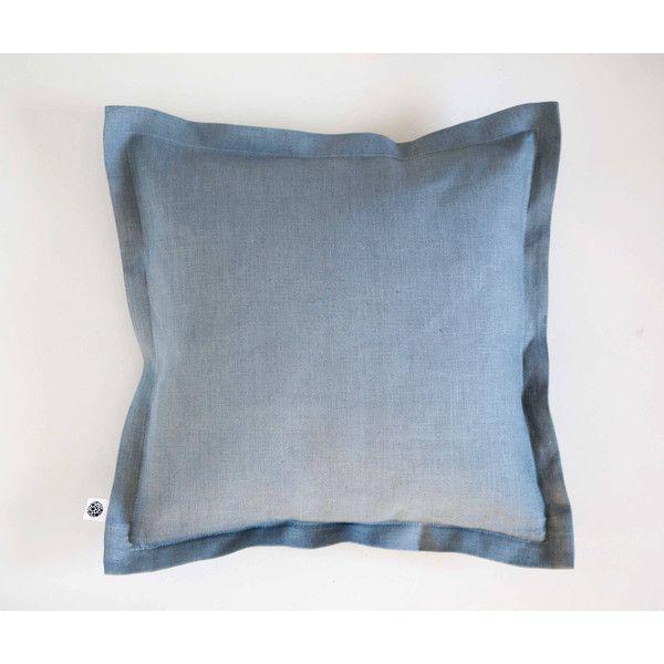 Blue linen throw pillow european linen pillow cover dusty blue