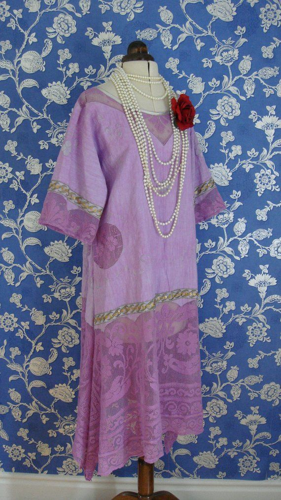 1920s linnen and lace dress