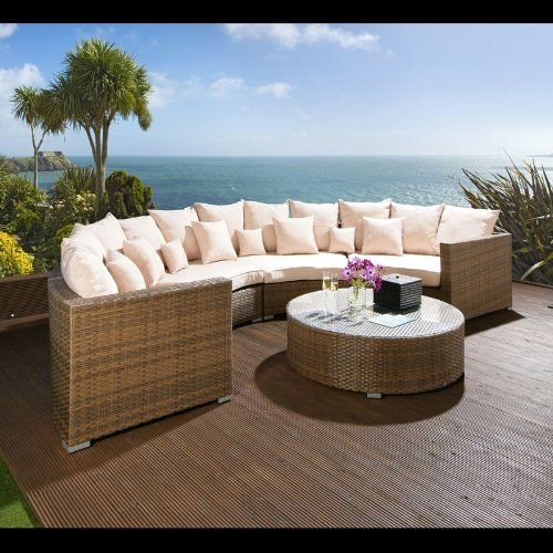 Luxury 6 Seater Rattan Modular Sofa Round Table Brown Cream Cushions 1350 00 Garden Furniture Sets Outdoor Furniture Sets Quality Garden Furniture