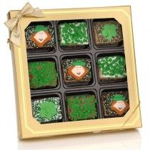 St. Patrick's Day Chocolate Dipped Mini Crispy Rice Bars- Window Gift Box of 9