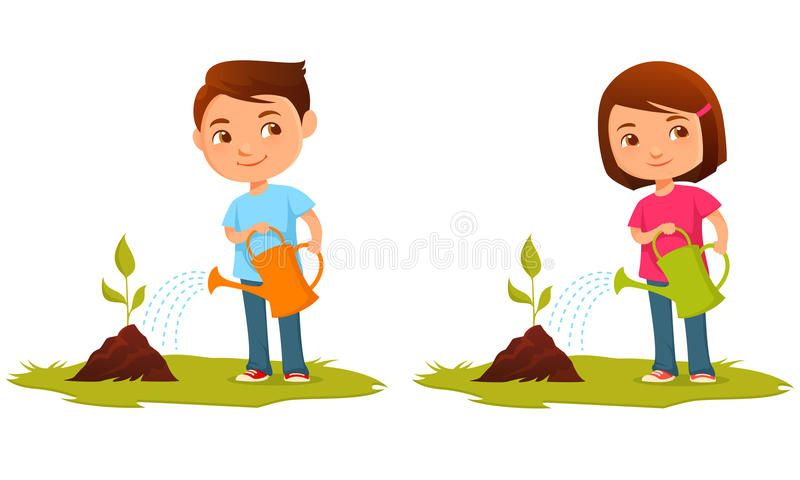 Plant Inside Pot And Watering Can Design Stock Vector - Illustration of  green, horticulture: 80169425