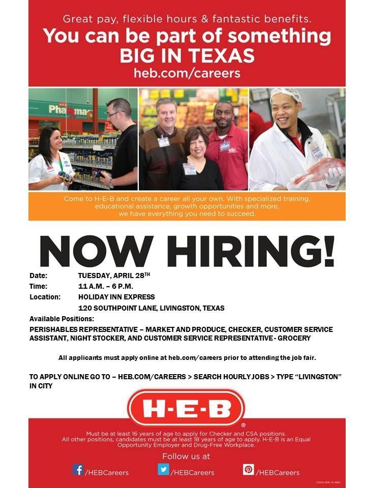 H E B Career Fans Our Livingston Store Is Hosting A Job Fair