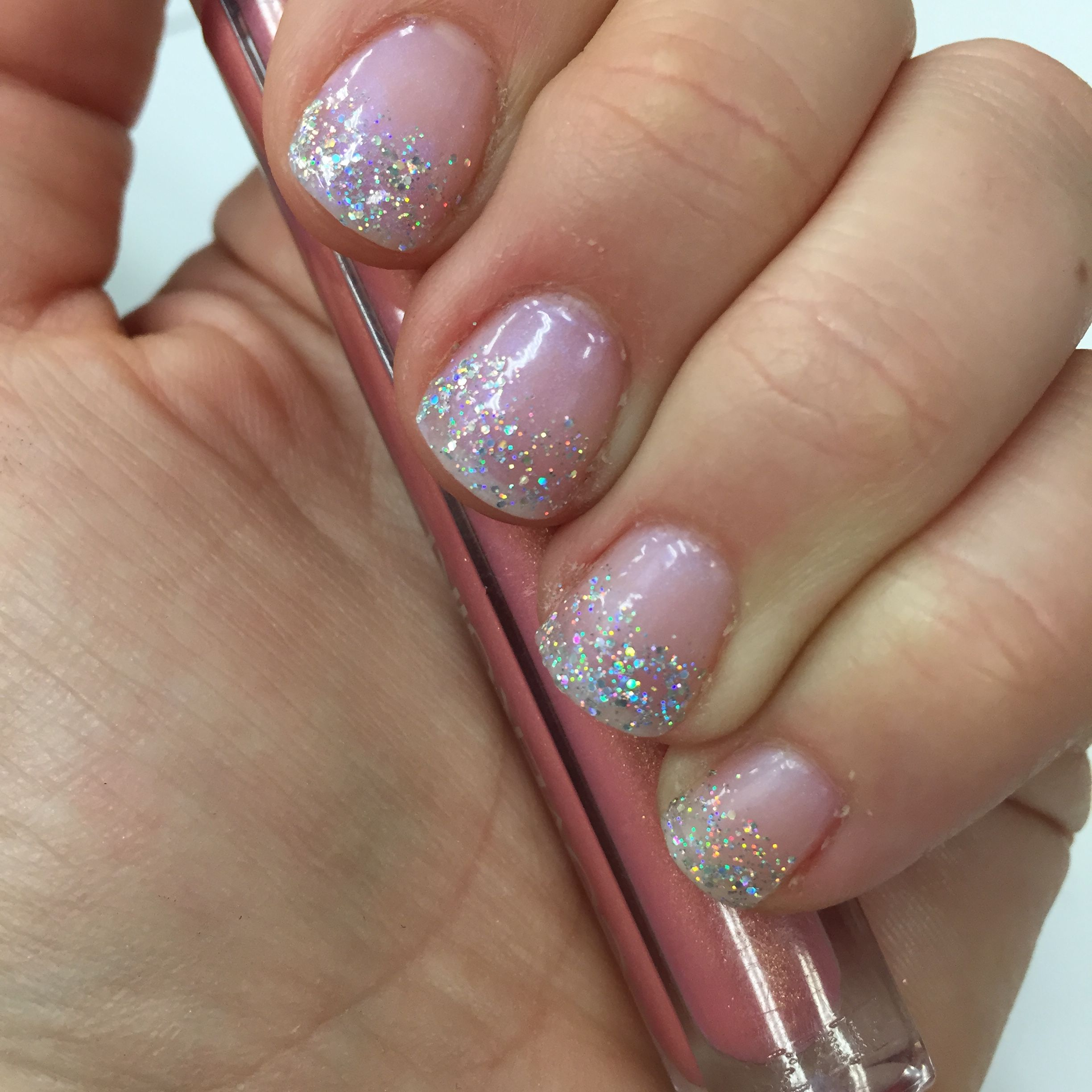 LeChat gel manicure with Madras (opal) and Hologram Diamond (glitter ...