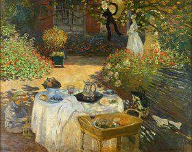 Das Mittagessen: dekorative Tafel. (im Garten Claude Monets in Argenteuil). Gegen von Claude Monet Kunstdruck > Bildergipfel.de  – Bilder