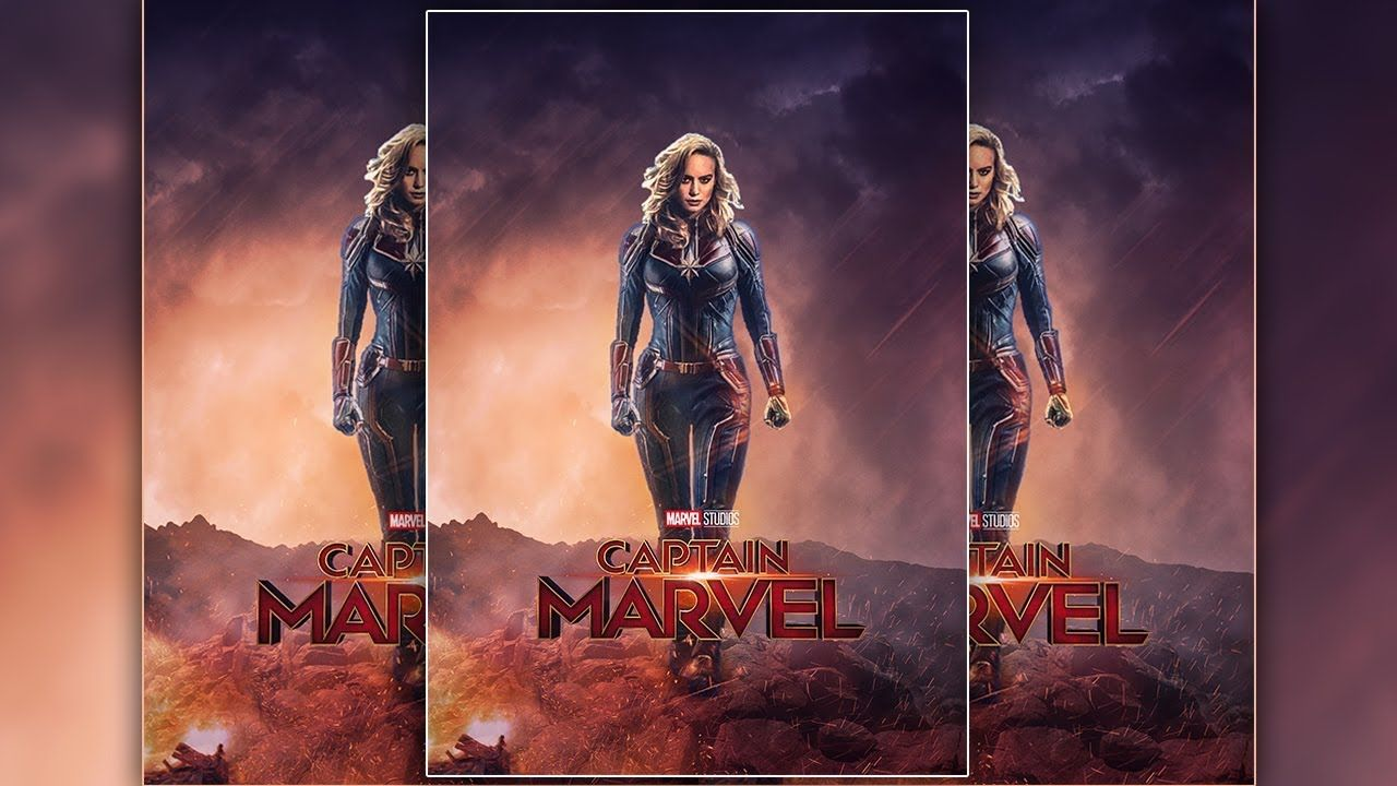 Captain Marvel Movie Poster Design In Photoshop Cc 2019 Marvel