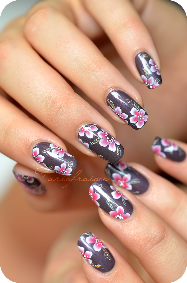 nail art one stroke fleur yukata | nail art fleur | Pinterest