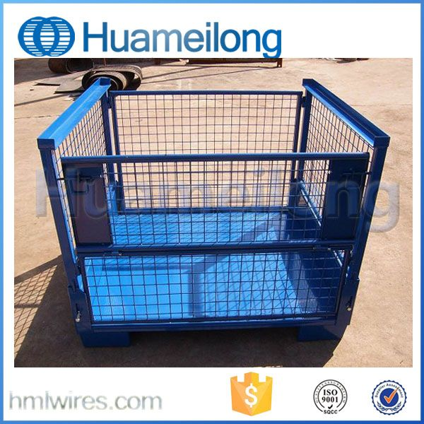 Warehouse Storage Square Steel Metal Box Pallet Crate For Auto Industry Wire Storage Metal Storage Bins Automobile Industry