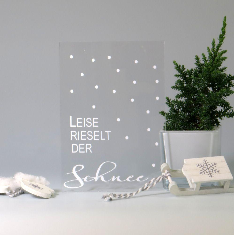 Acryl Weihnachtskarte Schneeflocken Tischkarten
