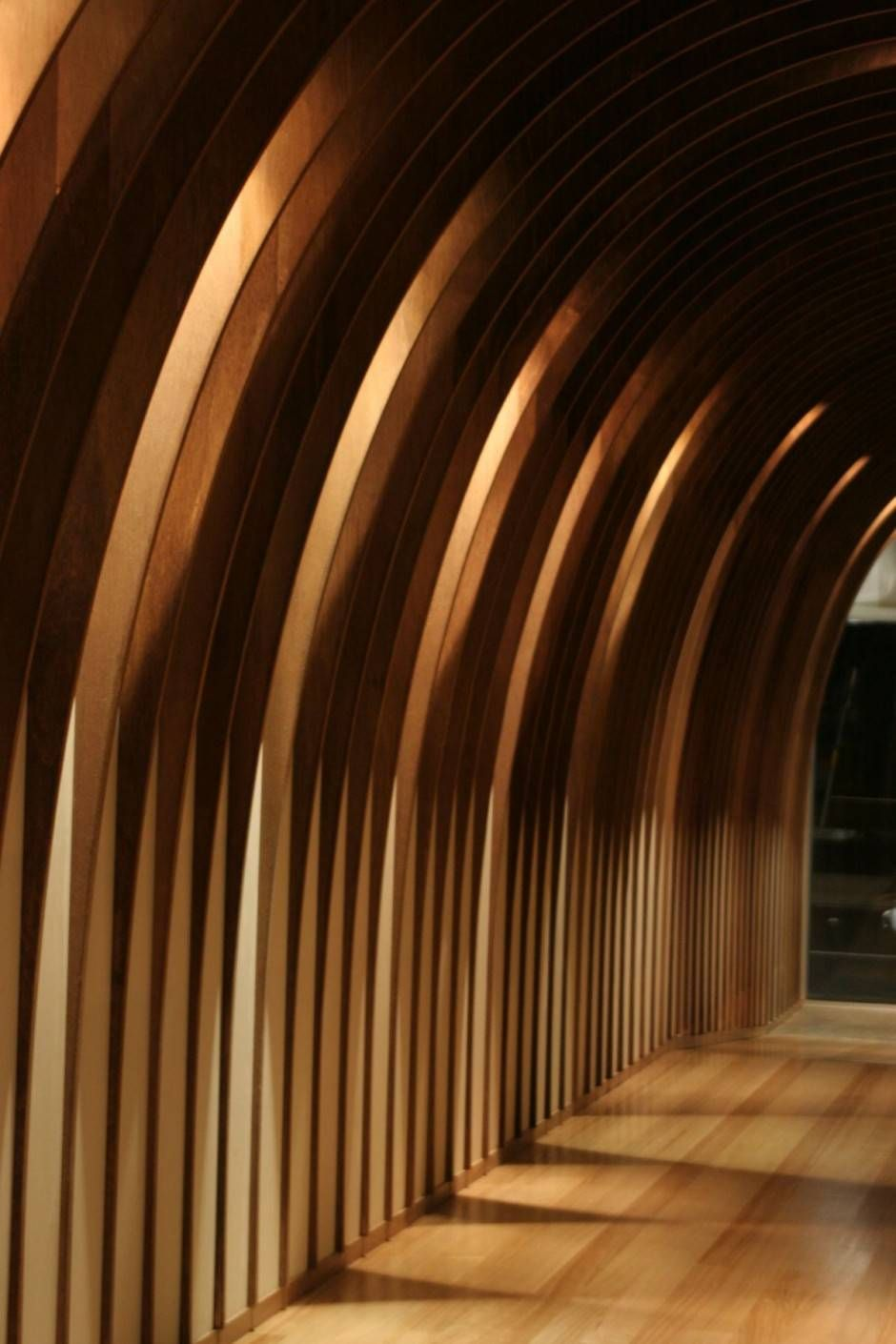 wood fins with nice lighting | partition inspiration | pinterest
