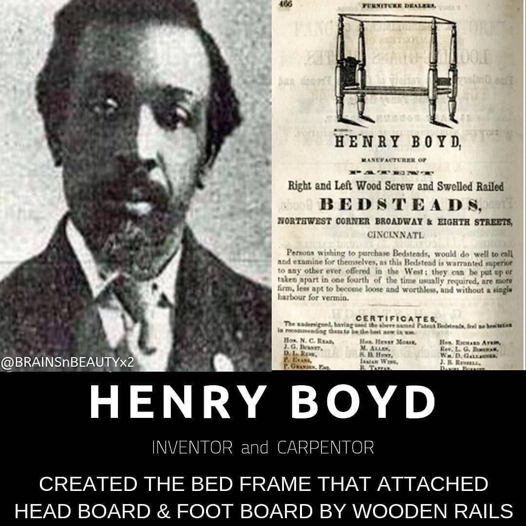 """Photo of Jp aka Jpilla Bey on Instagram: """"Reposted from @brainsnbeautyx2 –  #HenryBoyd, a skilled carpenter, was born into slavery in 1802. He learned that Black carpenters used…"""""""