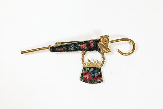 dainty vintage 1950s 1960s umbrella and purse pin gold tone floral petit point needlepoint brooch with dangle spring showers fashion statement gift for