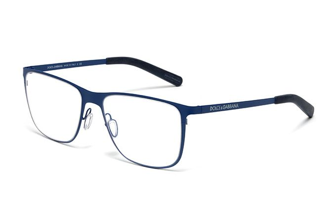 Mens matte blue metal and rubber eyeglasses with squared ...