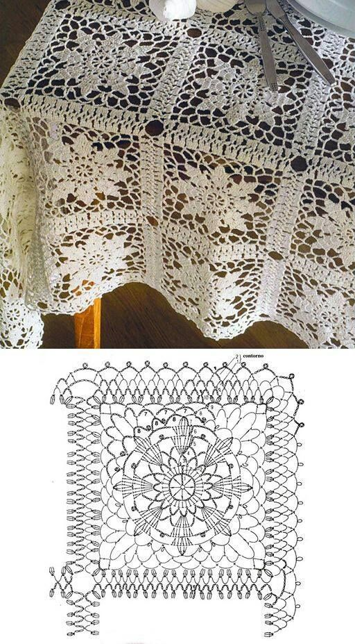 Crochet lace square motif. Here in tablecloth but could be used in bedspread. Similar to the Queen Anne's Lace square. ~~ 1491767_264462270372993_1643879527_n.jpg (512×927):