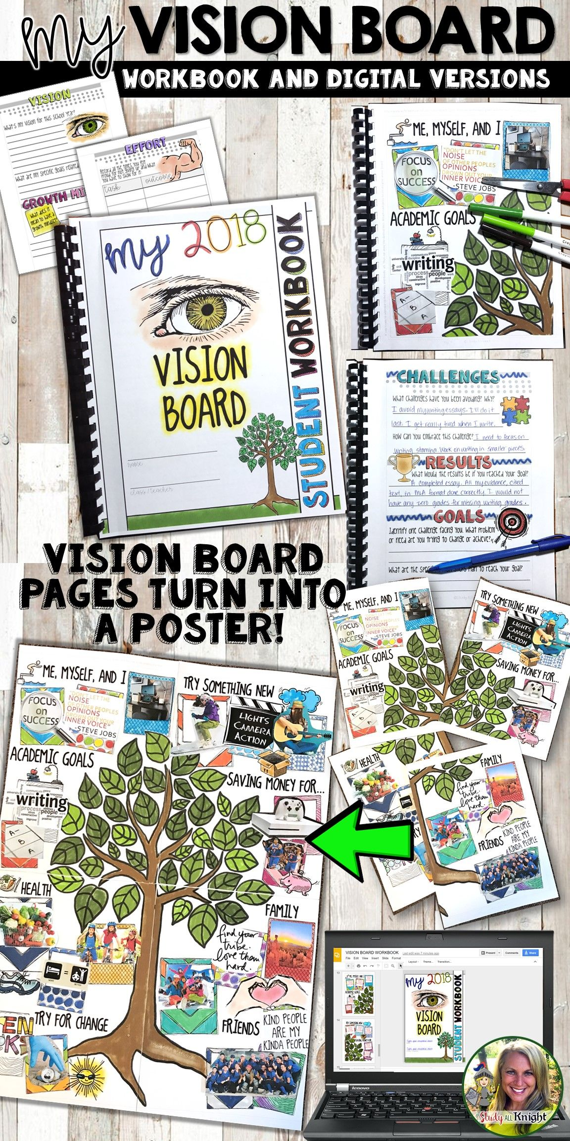 Vision Board Student Workbook New Years Activity It