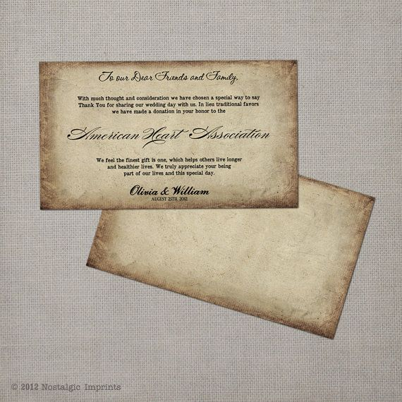 Wording For Money In Lieu Of Wedding Gifts: 50 Wedding Favor Donation Cards Antique By