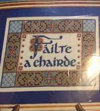 a chairde high chair wooden legs design works celtic welcome fiends counted cross stitch kit failte