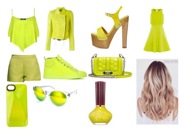 """""""Day and Night 9-Fluorescent Green"""" by marianaraposo on Polyvore featuring Pilot, Ann Demeulemeester, Karen Millen, Balenciaga, Giuseppe Zanotti, Rebecca Minkoff, Marc by Marc Jacobs, AQS by Aquaswiss and Paul & Joe Beaute"""