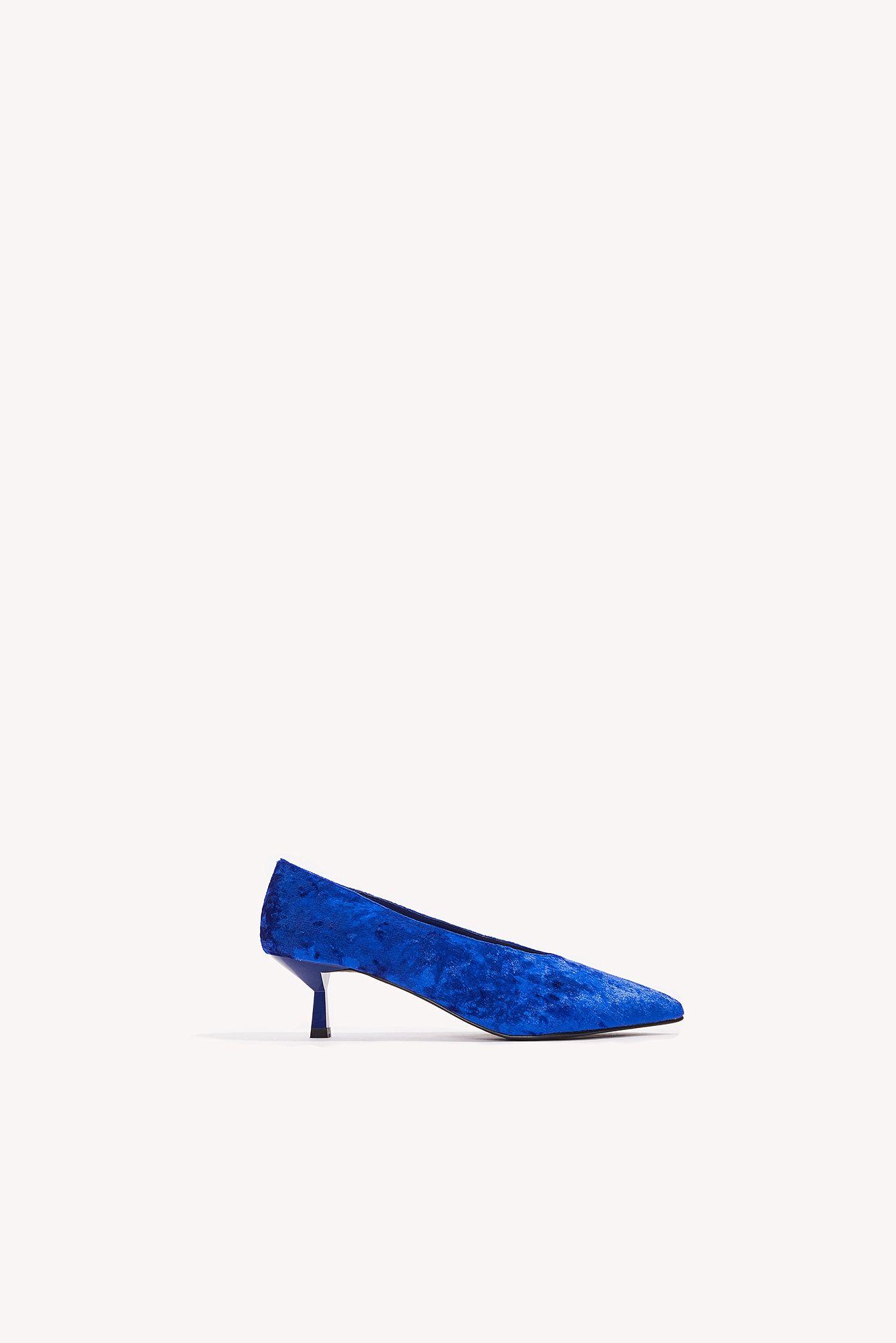 NA-KD Crushed Velvet Kitten Heel - Blue