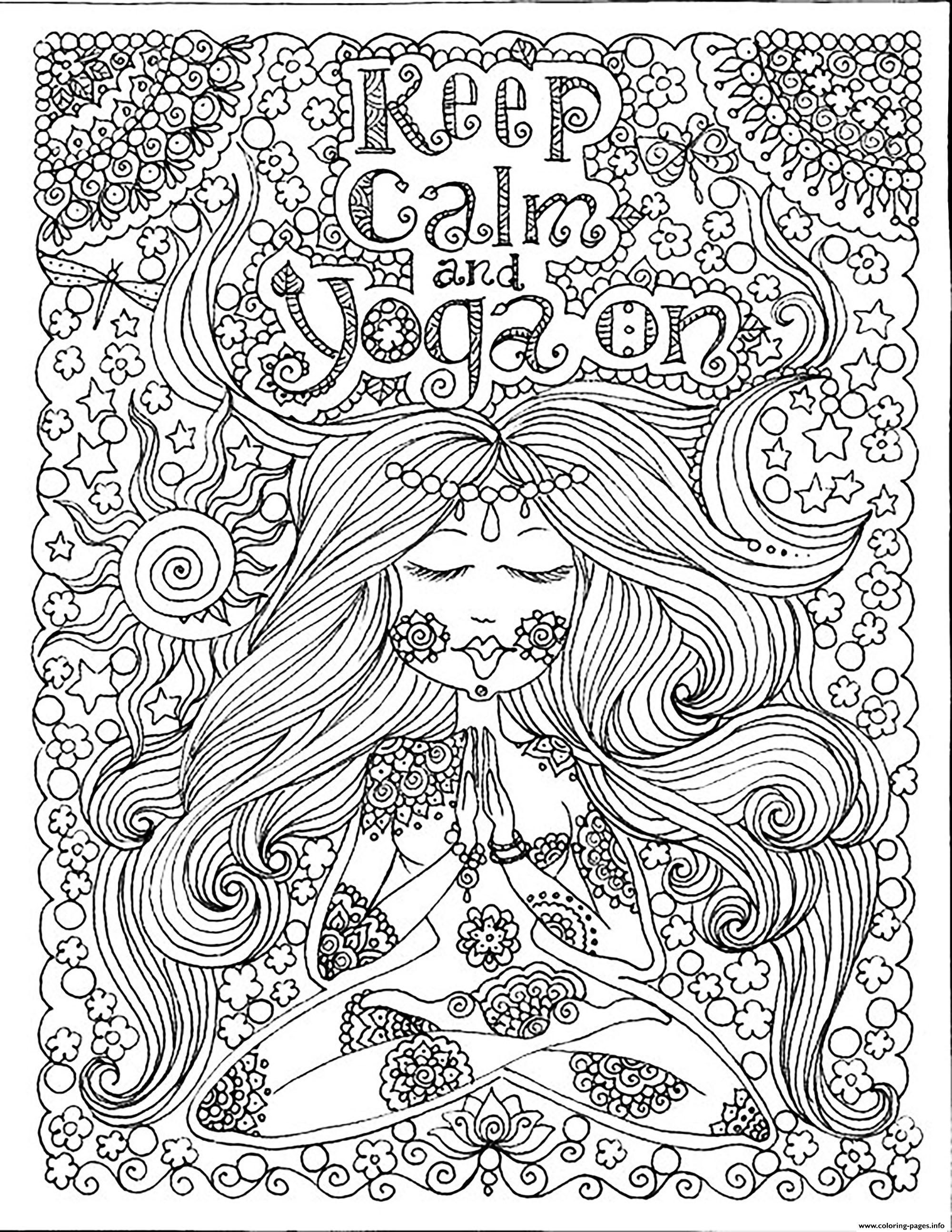 calming coloring pages for adults printable | Print adult keep calm and do yoga by deborah muller ...