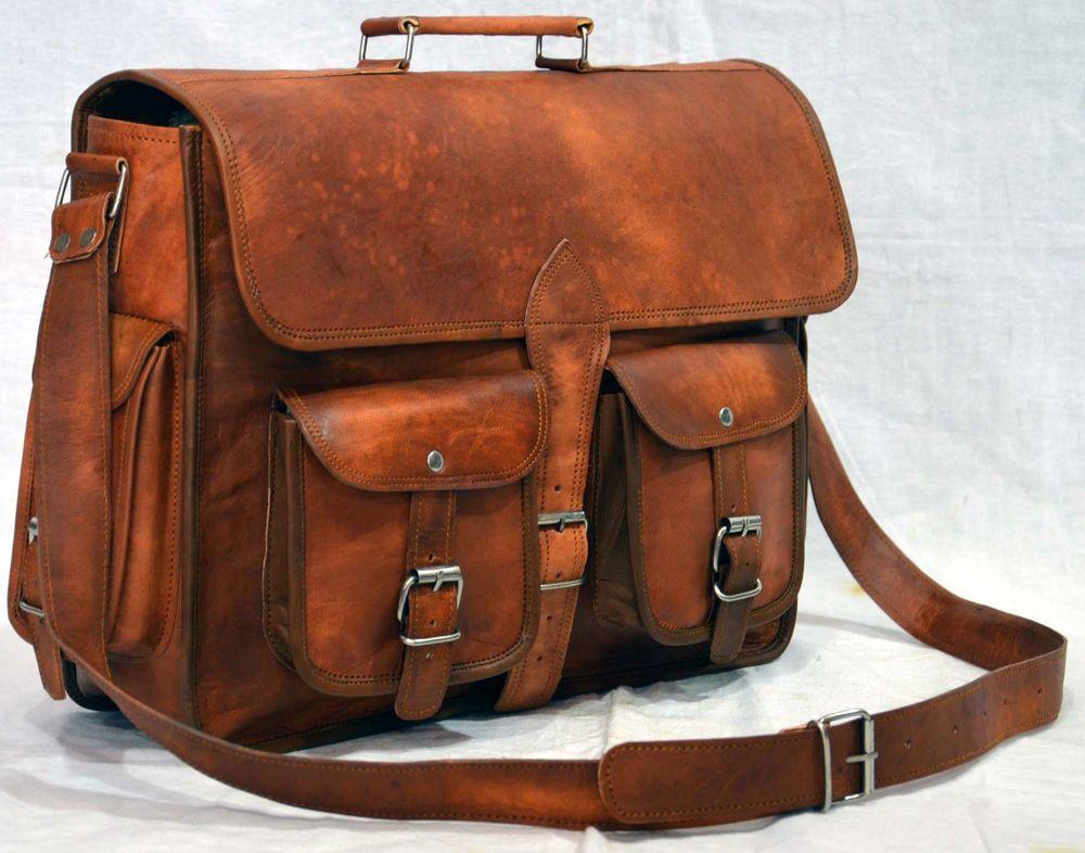 Real goat hide rucksack back pack unisex genuine leather messenger vintage bag