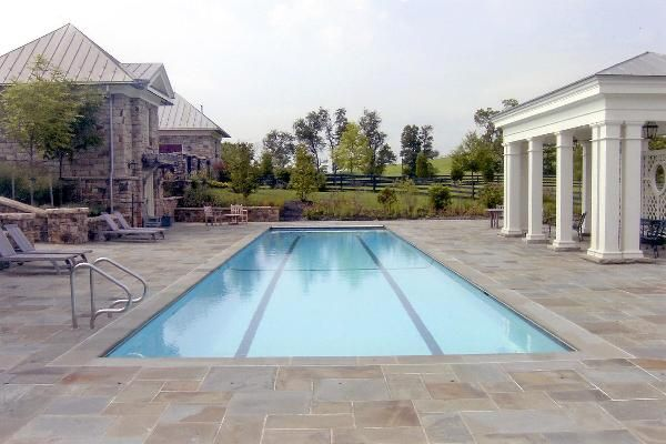 Round Hill Va 16x50 Lap Pool With Large Flagstone Pool Deck Northern Virginia Pools Pool
