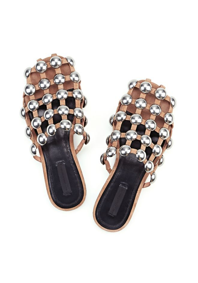 a437f08aeffa2 Really hard to find clay color suede Amelia slides from Alexander Wang  featuring silver stud detailing