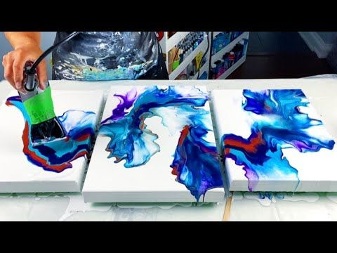 #223 - Acrylic Pour Painting - Triptych with Coppe