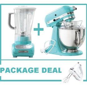 $399.99 Package Deal: Ice Blue KitchenAid Blender, 5qt Mixer And Hand Mixer