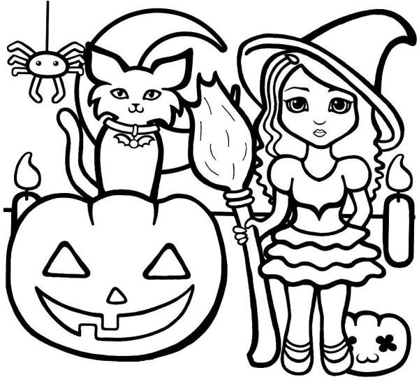 Halloween Coloring Pages For Preschoolers Easy Cat Free Online And Printable