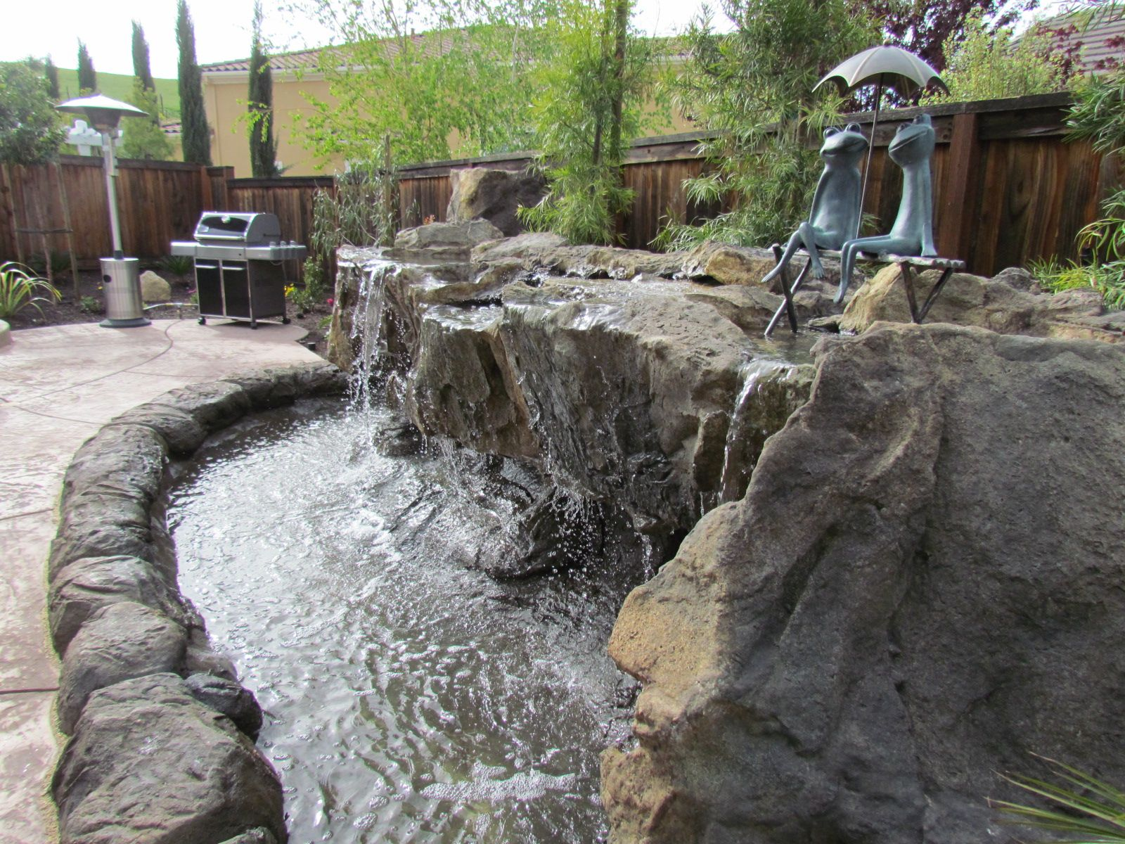 Waterfall backyard resort style backyard water for Backyard water feature plans