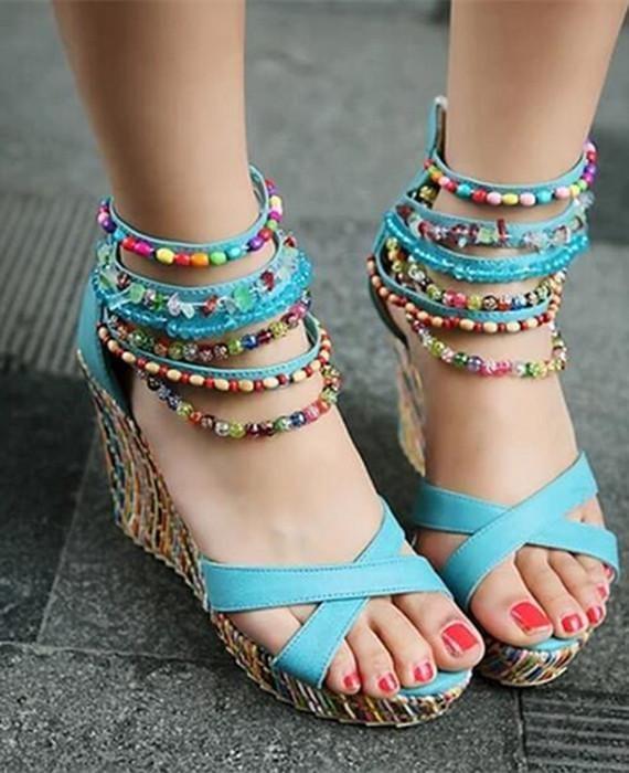 5b5f99dcb34 Multicolor Beads Bohemia National Trend Ultra High Heels Wedges Sandal