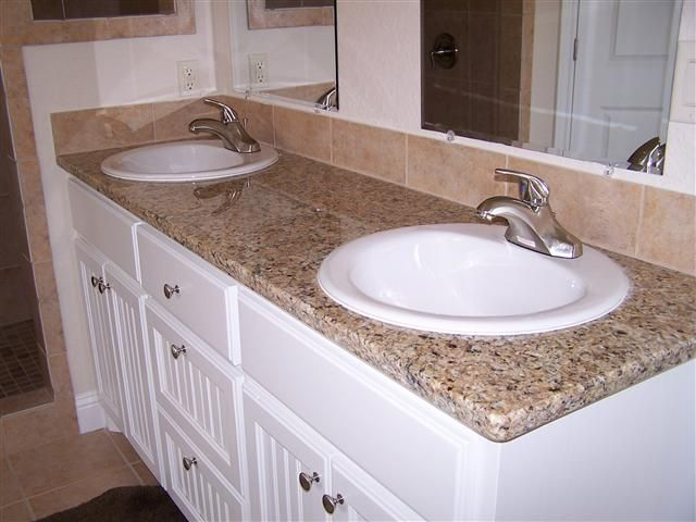 Bath Granite Counter With Drop In Sinks