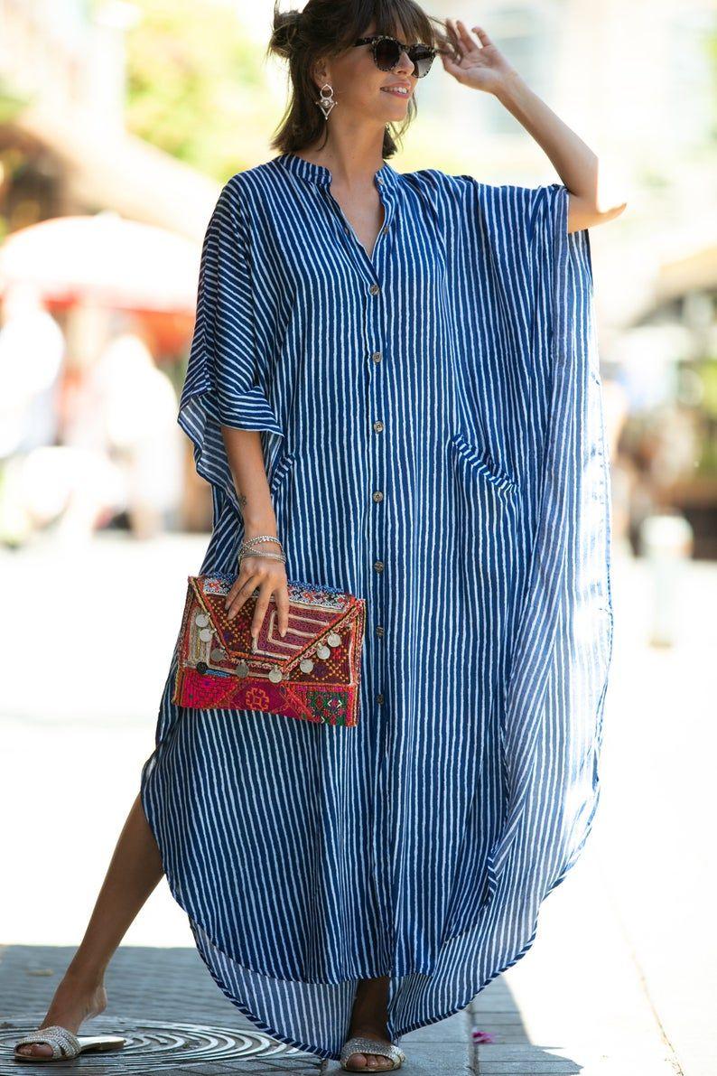Blue White Striped Oversize Kaftan Dress Bohemian Hipster Buttoned Caftan With Pockets Summer Urban Vacation Hippie Plus Size Maxi Dress Kaftan Designs Kaftan Dress Fashion [ 1191 x 794 Pixel ]