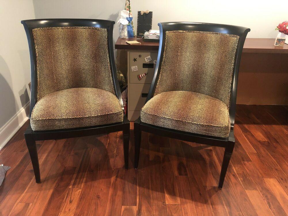 Ethan Allen Pair Mid Century Modern Accent Chairs Animal Print