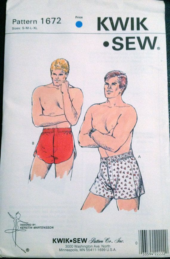 Kwik Sew 1672 1980s Mens BOXER SHORTS Pattern Fly Front Opening ...