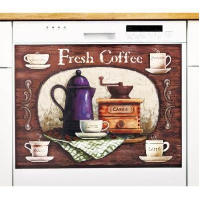 Coffee Theme Dishwasher Magnetic Cover Kitchen Decor