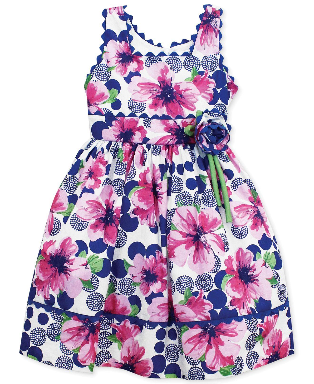 Jayne Copeland Little Girls' Floral Bow Dress - Kids Dresses & Dresswear - Macy's