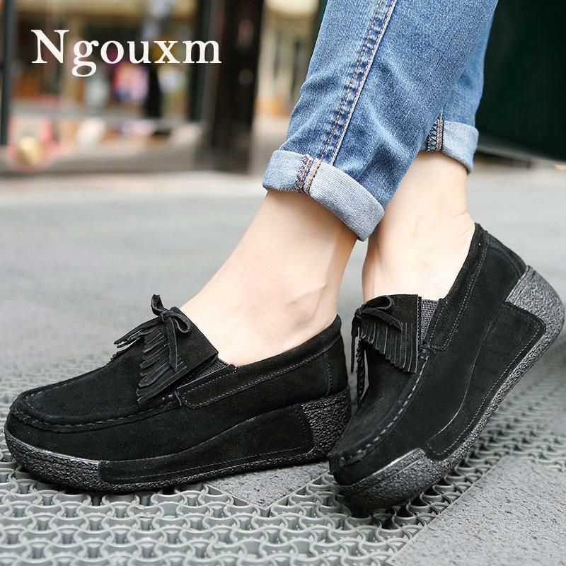 2f24959d8a7036 Ngouxm Women Suede Loafers Flats shoes woman genuine leather with platform  Slip On Fashion Casual Woman black platform Shoes. Yesterday s price  US   33.12 ...