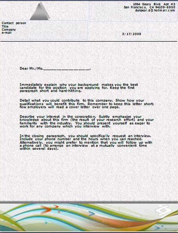 Cover Letter Template The template is readymade cover letter that - cover letter word templates