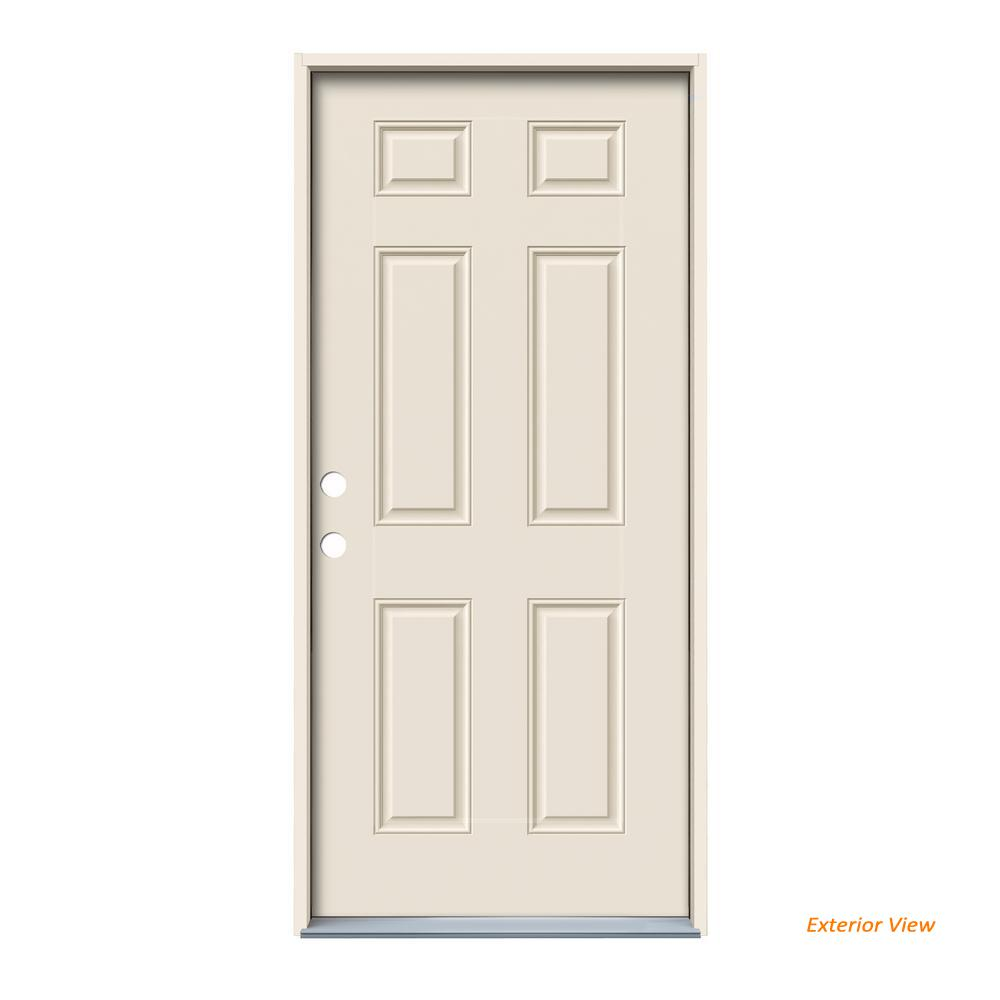 36 In X 80 In 6 Panel Primed Steel Prehung Right Hand Inswing Front Door Thdjw166100302 In 2020 Steel Doors Exterior Exterior Front Doors Steel Doors