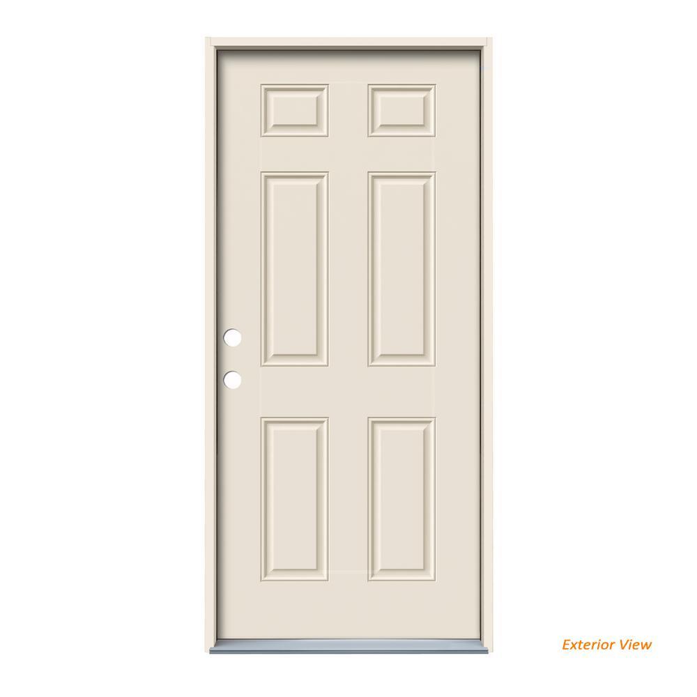 36 In X 80 In 6 Panel Primed Steel Prehung Right Hand Inswing Front Door Thdjw166100302 In 2020 Steel Doors Exterior Exterior Front Doors Steel Doors