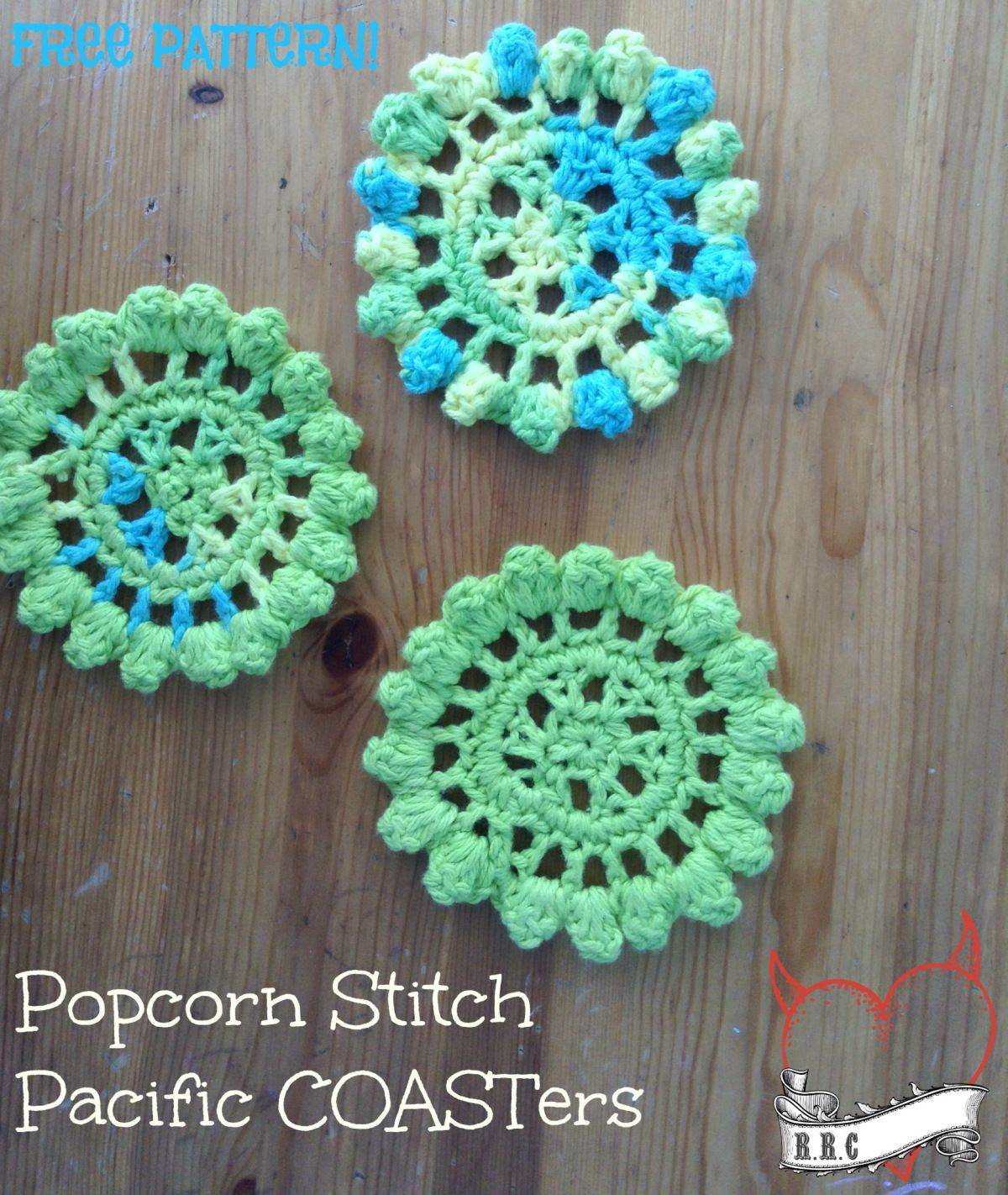 Popcorn stitch pacific coasters patterns crochet and stitch free crochet pattern popcorn stitch pacific coasters by raising robertsons crochet bankloansurffo Images