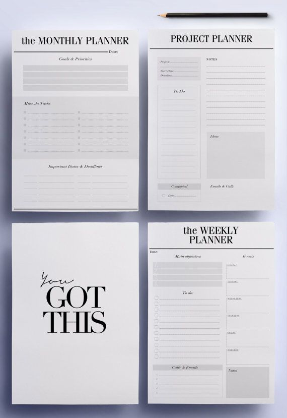 ULTIMATE Productivity, To Do List Work Printable Planner Pack, 21 A4
