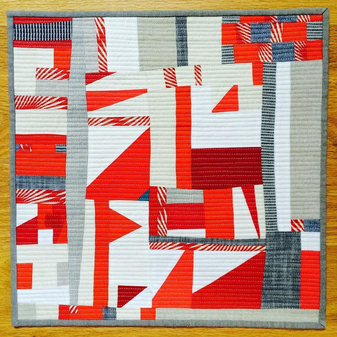 Finished the first piece for the Quilter's Alliance contest. Horizontal matchstick quilting. #improvquilts #improvquilting #quiltersalliance